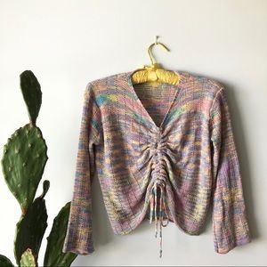 Rainbow Knit Long Sleeve Cinched Top